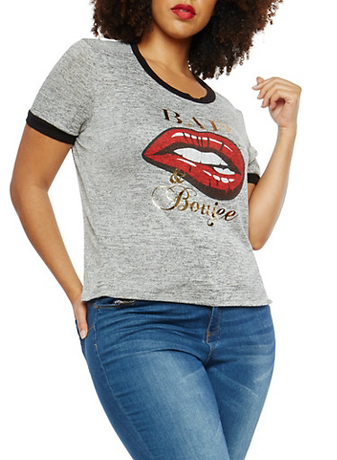 Plus Size Marled Foil Graphic T Shirt,HEATHER,large