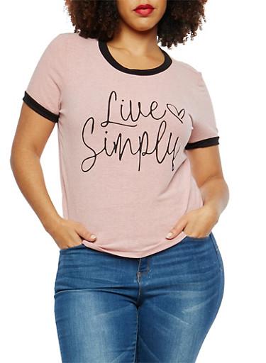Plus Size Contrast Trim Graphic T Shirt,MAUVE,large