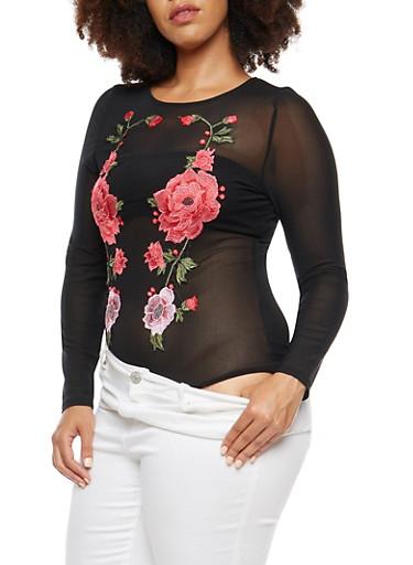 Plus Size Mesh Bodysuit with Patches,BLACK MAUVE,large