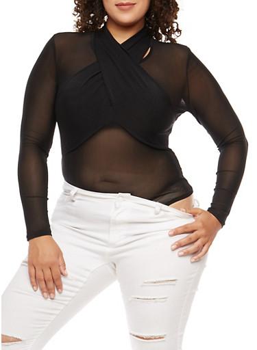 Plus Size Twist Front Mesh Bodysuit,BLACK,large