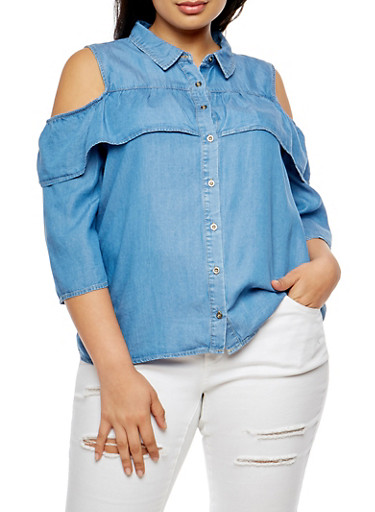 Plus Size Denim Cold Shoulder Top,MEDIUM WASH,large
