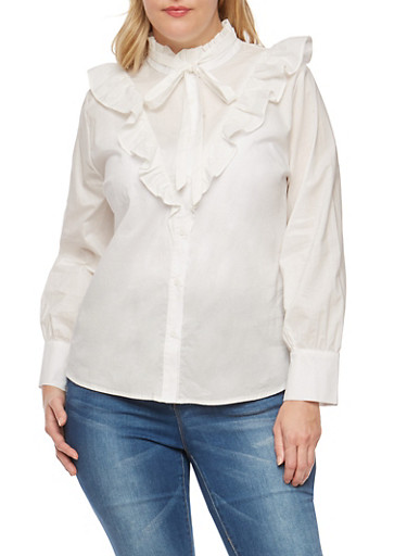 Plus Size Ruffle Button Front Shirt,WHITE,large