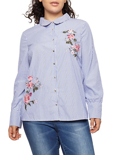 Plus Size Flower Embroidered Button Front Top,NAVY,large