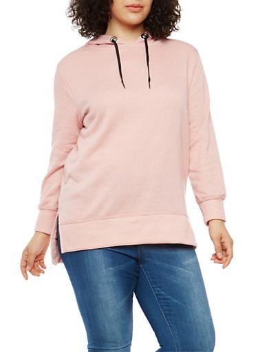 Plus Size Hooded Sweatshirt,MAUVE BLACK,large