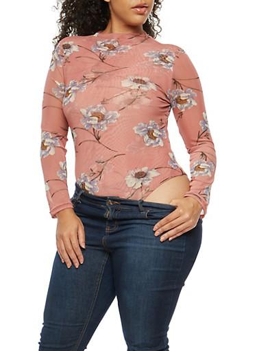 Plus Size Floral Mesh Thong Bodysuit,MAUVE,large