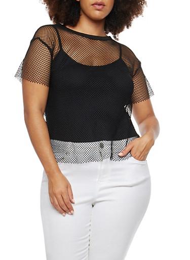 Plus Size Fishnet T Shirt,BLACK,large