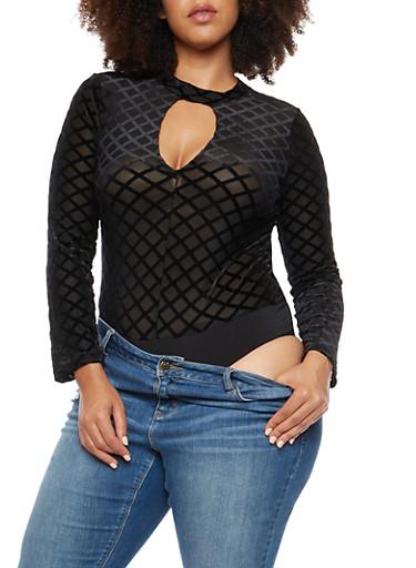 Plus Size Mesh Velvet Bodysuit,BLACK BLACK,large