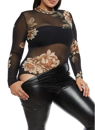 Plus Size Floral Mesh Thong Bodysuit,BLACK,large