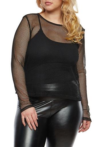 Plus Size Fishnet Long Sleeve Top,BLACK,large