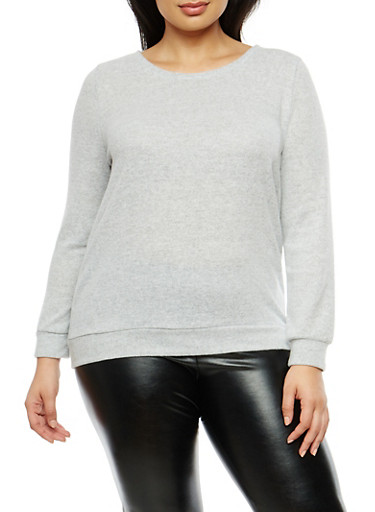 Plus Size Soft Knit Top with Caged Back Detail,HEATHER,large