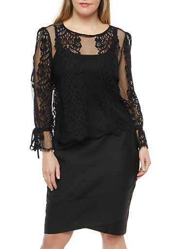 Plus Size Lace Cinched Bubble Sleeve Top,BLACK,large