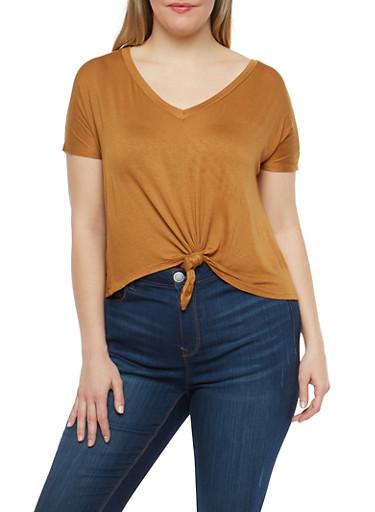 Plus Size Knot Front T Shirt,COGNAC,large