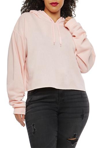 Plus Size Cropped Fleece Lined Sweatshirt,BABY PINK,large