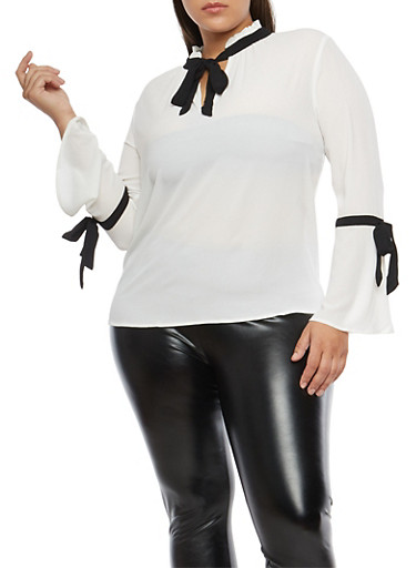 Plus Size Bell Sleeve Contrast Trim Blouse,BLACK/WHITE,large