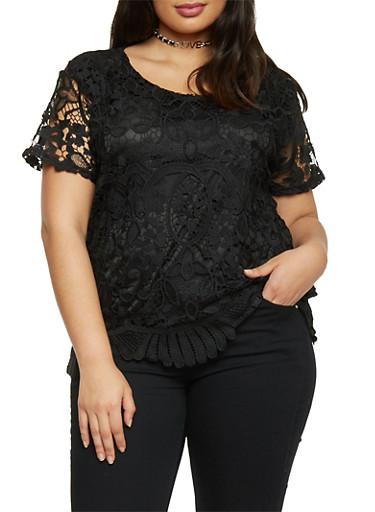 Plus Size Short Sleeve Scallop Hem Crochet Top,BLACK,large