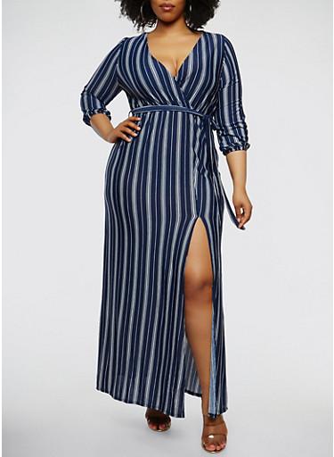 Plus Size Striped Faux Wrap Maxi Dress,NAVY,large