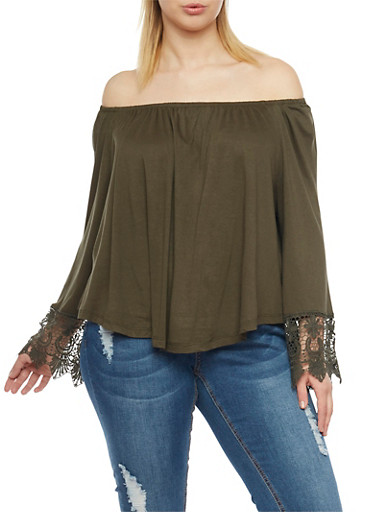 Plus Size Off the Shoulder Top with Crochet Trim,OLIVE,large