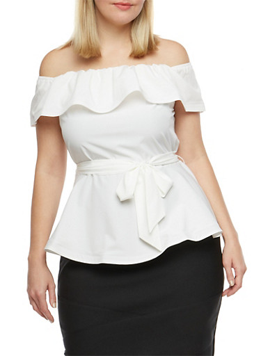 Plus Size Off the Shoulder Belted Peplum Top,OFF WHITE,large