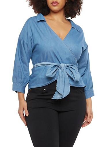 Plus Size Denim Wrap Top,BLUE,large