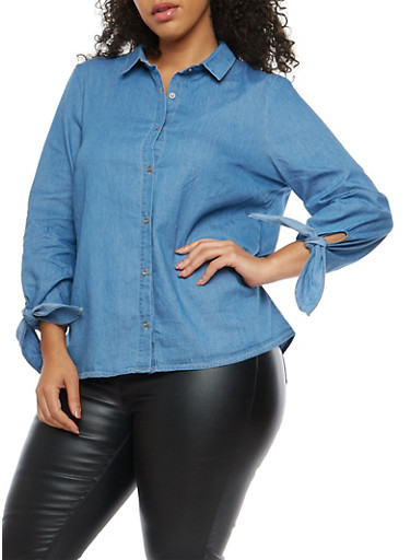 Plus Size Button Front Chambray Top,BLUE,large