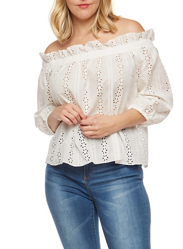 Plus Size Eyelet Off the Shoulder Top,WHITE,large