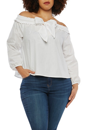 Plus Size Bow Tie Front Off the Shoulder Top,WHITE,large