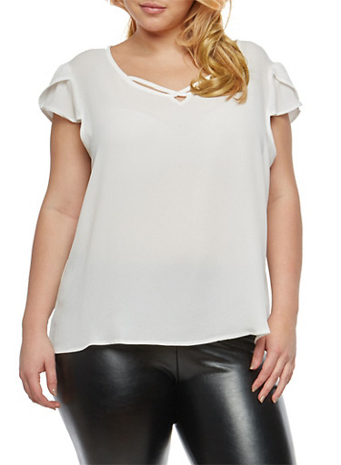 Plus Size Crepe Knit Caged Detail Top,OFF WHT,large