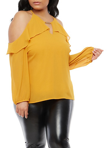 Plus Size Ruffled Cold Shoulder Top,MUSTARD,large
