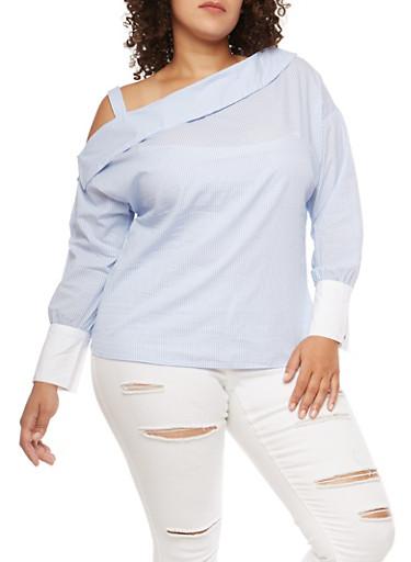 Plus Size Striped One Shoulder Top,BLUE,large