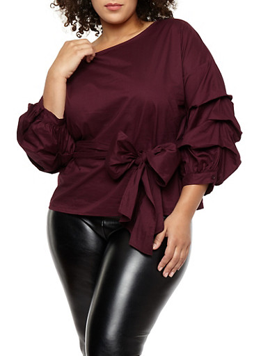Plus Size Tie Waist Ruched Sleeve Top,PLUM,large