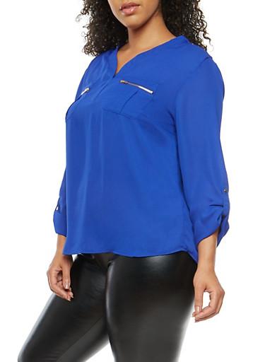 Plus Size Zip Pocket Blouse,ROYAL,large