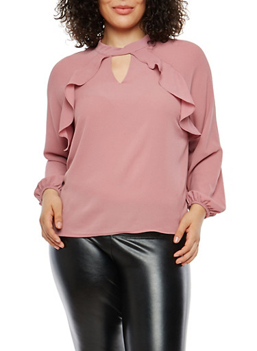 Plus Size Crepe Knit Ruffle Front Top,MAUVE,large