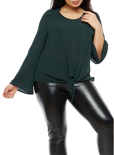 Plus Size Knot Front Crepe Knit Top,HUNTER,large
