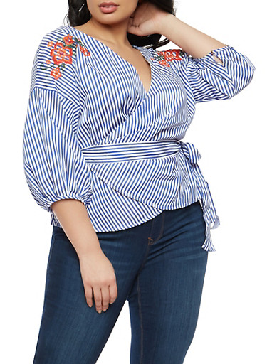 Plus Size Striped Embroidered Wrap Top,NAVY WHT,large