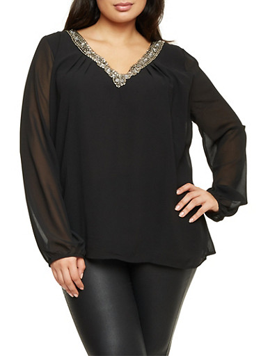 Plus Size Beaded V Neck Blouse,BLACK,large