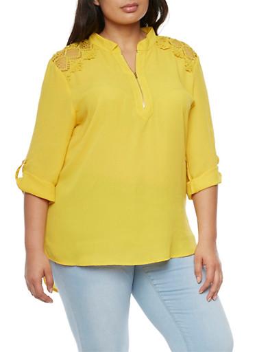 Plus Size Zipper Neck Crochet Top,MUSTARD  #120,large