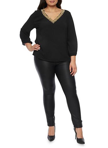 Plus Size Top with Embellished V Neck,BLACK,large