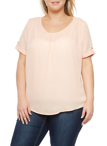 Plus Size Crochet Paneling Chiffon Top,BLUSH  #24,large