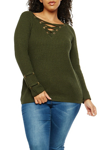 Plus Size Lace Up Detail Sweater,OLIVE,large