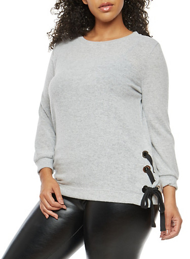 Plus Size Lace Up Side Top,HEATHER,large