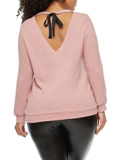 Plus Size Soft Knit Tie Back Top,MAUVE,large