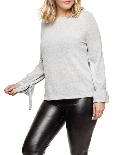 Plus Size Tie Sleeve Sweater,HEATHER,large