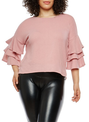 Plus Size Soft Knit Tiered Sleeve Sweater,PINK,large