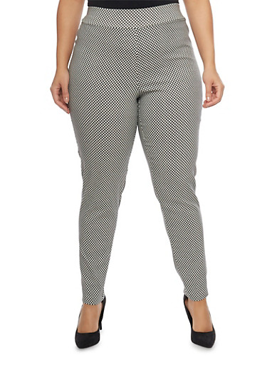 Plus Size Printed Knit Pants,WHITE-BLK,large