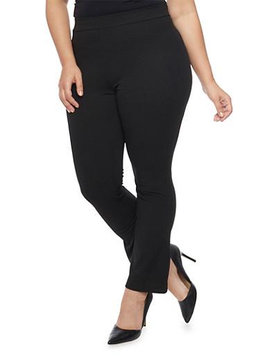 Plus Size Crepe Knit Boot Cut Pants,BLACK,large