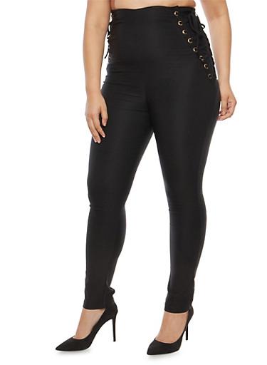 Plus Size Lace Up Pants,BLACK,large