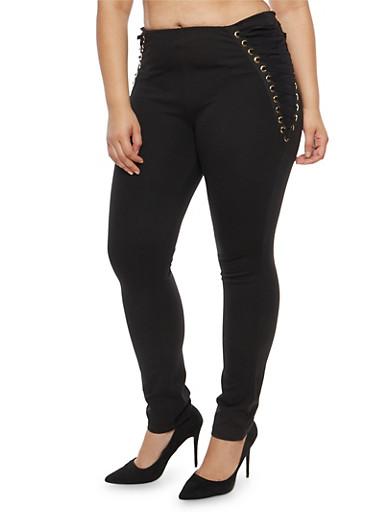 Plus Size Lace Up Side Dress Pants,BLACK,large