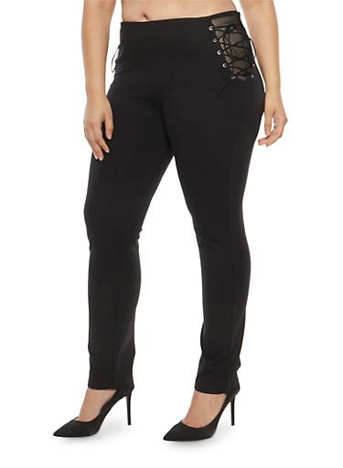 Plus Size Fishnet Side Lace Up Dress Pants,BLACK,large