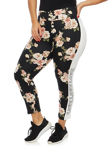 Plus Size Floral Love Graphic Leggings,BLACK,large