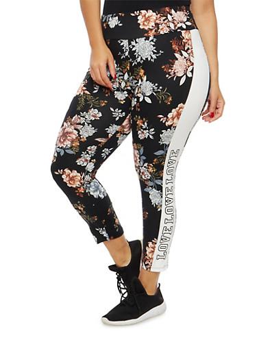 Plus Size Floral Love Graphic Leggings,BLACK,large